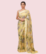 Yellow Pure Georgette Saree Floral Print 1