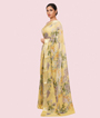 Yellow Pure Georgette Saree Floral Print 2