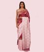 Baby Pink/Wine Banarasi Silk Saree 1