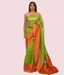 Pista Green Kora Silk Saree In Gold Zari 1