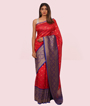 Tomato Red Muga Silk Saree In Gold Zari 1
