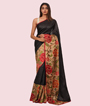 Black Tussar Silk Saree Ghicha Work 1