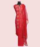 Red Unstitched Salwar Kameez 1