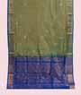 Green Soft Silk Saree  Gold Zari 1