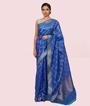 Blue Kora Silk Saree In Silver Zari 1