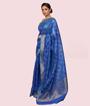 Blue Kora Silk Saree In Silver Zari 2