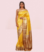 Yellow Kanchipuram Saree Brockit Blouse In Pure Gold Zari 1