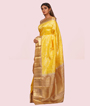 Yellow Kanchipuram Saree Brockit Blouse In Pure Gold Zari 2