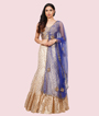 Cream And Blue Lehenga Choli 2