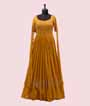 Mustard Gown in Georgette with Long Sleeves 1