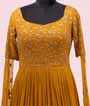 Mustard Gown in Georgette with Long Sleeves 2