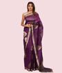 Purple Kora Silk Saree In Gold Zari 1