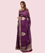 Purple Kora Silk Saree In Gold Zari 2