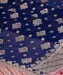 Rama Blue Banarasi Saree Khadi Georgette Anttic Zari 2
