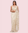 Off White Net Saree Cutdana With Pearl Work 1