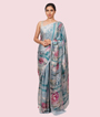 Blue Satin Saree Floral Print 1