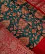 Rama Green Chanderi Cotton Saree With Floral Print 2