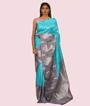 Green and Grey Kanchipuram Saree In Silver Zari Zari 1