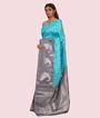 Green and Grey Kanchipuram Saree In Silver Zari Zari 2
