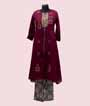 Wine Kurti Set With Embroidery 1