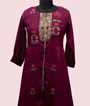 Wine Kurti Set With Embroidery 2