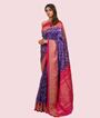 Blue Ikkat Silk Saree Gota Work 2