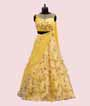 Yellow Lehenga Choli with Floral Print and Applic work 1