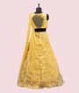 Yellow Lehenga Choli with Floral Print and Applic work 3