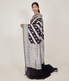 Black Banarasi Saree Kora Silver Zari 2