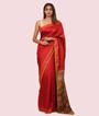 Red Tussar Silk Saree Katha Work 1