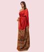 Red Tussar Silk Saree Katha Work 2