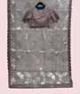 Light Grey Organza Saree Applic Work With Stitched Blouse 1