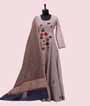 Light Grey Salwar Kameez With Embroidery And Banarasi Kora Dupatta 1