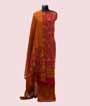 Red Unstitched Chanderi Salwar Kameez with Print 1