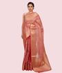 Onion Pink Banarasi Cotton Saree 1