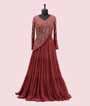 Peach Gown in Georgette with Attached Dupatta style 1