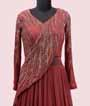 Peach Gown in Georgette with Attached Dupatta style 2
