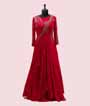 Scarlet Pink Gown in Georgette with Handwork 1
