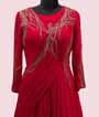 Scarlet Pink Gown in Georgette with Handwork 2