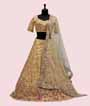 Lemon Yellow Lehenga Choli with Parsi and Leather work 1