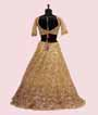 Lemon Yellow Lehenga Choli with Parsi and Leather work 3