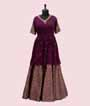 Purple Peplum Indo Western With Banarasi Skirt 2