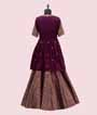 Purple Peplum Indo Western With Banarasi Skirt 3