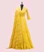 Yellow Georgette Salwar Kameez with Embroidery and Chikan work 1
