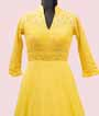 Yellow Georgette Salwar Kameez with Embroidery and Chikan work 2