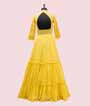 Yellow Georgette Salwar Kameez with Embroidery and Chikan work 4