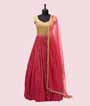 Pink and Yellow Georgette Salwar Kameez With Sequins and Handwork  1