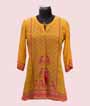 Mustard Yellow Short Top Kurti In Printed Crepe 1