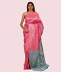 Pink Kanchipuram Saree In Silver Zari 1