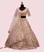 Light Peach Lehenga Choli with Leather and Applic work 1